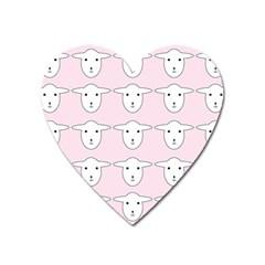 Sheep Wallpaper Pattern Pink Heart Magnet