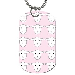 Sheep Wallpaper Pattern Pink Dog Tag (two Sides)
