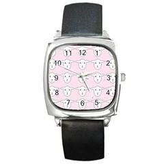 Sheep Wallpaper Pattern Pink Square Metal Watch