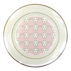 Sheep Wallpaper Pattern Pink Porcelain Plates