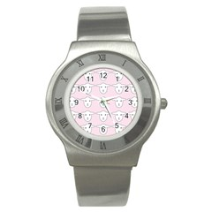 Sheep Wallpaper Pattern Pink Stainless Steel Watch