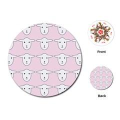 Sheep Wallpaper Pattern Pink Playing Cards (round)
