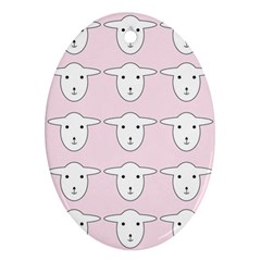Sheep Wallpaper Pattern Pink Oval Ornament (two Sides)