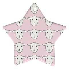 Sheep Wallpaper Pattern Pink Star Ornament (Two Sides)