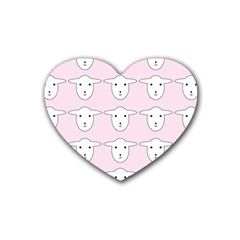 Sheep Wallpaper Pattern Pink Rubber Coaster (heart)
