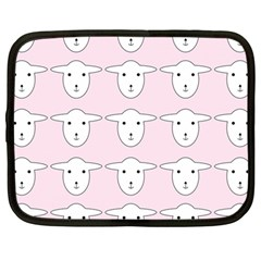 Sheep Wallpaper Pattern Pink Netbook Case (large)