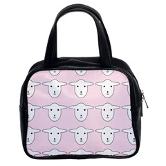 Sheep Wallpaper Pattern Pink Classic Handbags (2 Sides)