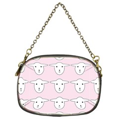 Sheep Wallpaper Pattern Pink Chain Purses (Two Sides)