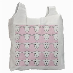 Sheep Wallpaper Pattern Pink Recycle Bag (two Side)