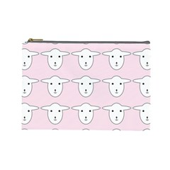 Sheep Wallpaper Pattern Pink Cosmetic Bag (large)