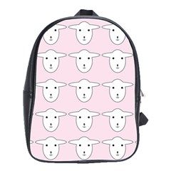 Sheep Wallpaper Pattern Pink School Bags(large)