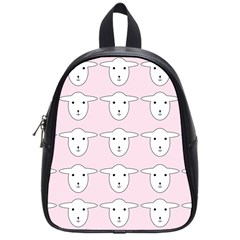 Sheep Wallpaper Pattern Pink School Bags (small)
