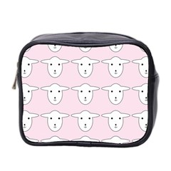 Sheep Wallpaper Pattern Pink Mini Toiletries Bag 2 Side