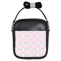 Sheep Wallpaper Pattern Pink Girls Sling Bags