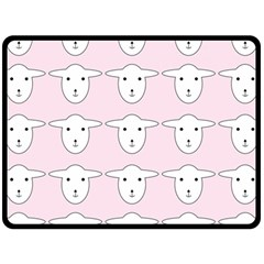 Sheep Wallpaper Pattern Pink Fleece Blanket (large)