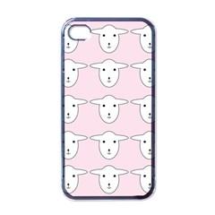 Sheep Wallpaper Pattern Pink Apple Iphone 4 Case (black)