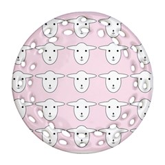 Sheep Wallpaper Pattern Pink Round Filigree Ornament (Two Sides)