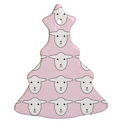 Sheep Wallpaper Pattern Pink Christmas Tree Ornament (two Sides)