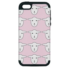 Sheep Wallpaper Pattern Pink Apple Iphone 5 Hardshell Case (pc+silicone)