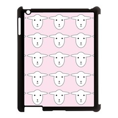 Sheep Wallpaper Pattern Pink Apple iPad 3/4 Case (Black)