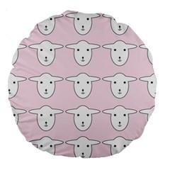 Sheep Wallpaper Pattern Pink Large 18  Premium Round Cushions