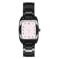 Sheep Wallpaper Pattern Pink Stainless Steel Barrel Watch