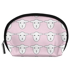 Sheep Wallpaper Pattern Pink Accessory Pouches (large)