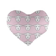 Sheep Wallpaper Pattern Pink Standard 16  Premium Flano Heart Shape Cushions