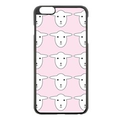 Sheep Wallpaper Pattern Pink Apple Iphone 6 Plus/6s Plus Black Enamel Case