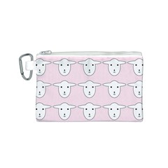 Sheep Wallpaper Pattern Pink Canvas Cosmetic Bag (s)