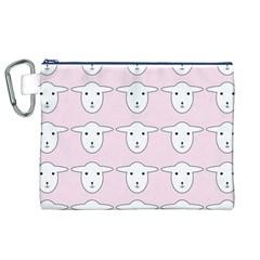 Sheep Wallpaper Pattern Pink Canvas Cosmetic Bag (xl)