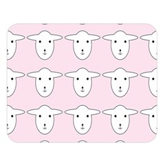 Sheep Wallpaper Pattern Pink Double Sided Flano Blanket (large)