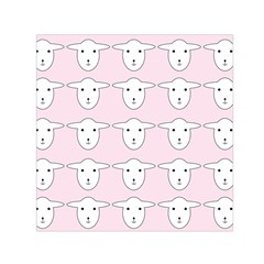 Sheep Wallpaper Pattern Pink Small Satin Scarf (square)