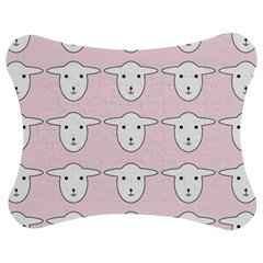 Sheep Wallpaper Pattern Pink Jigsaw Puzzle Photo Stand (Bow)