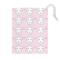 Sheep Wallpaper Pattern Pink Drawstring Pouches (extra Large)