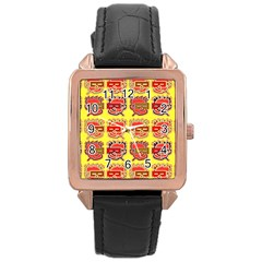 Funny Faces Rose Gold Leather Watch
