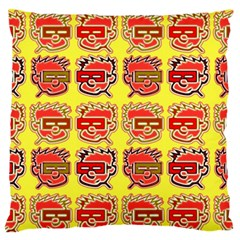 Funny Faces Large Flano Cushion Case (two Sides)