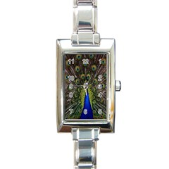 Bird Peacock Display Full Elegant Plumage Rectangle Italian Charm Watch
