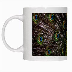 Bird Peacock Display Full Elegant Plumage White Mugs