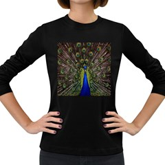 Bird Peacock Display Full Elegant Plumage Women s Long Sleeve Dark T-Shirts
