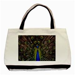 Bird Peacock Display Full Elegant Plumage Basic Tote Bag
