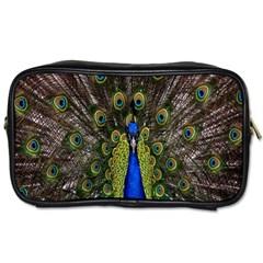 Bird Peacock Display Full Elegant Plumage Toiletries Bags