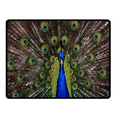 Bird Peacock Display Full Elegant Plumage Fleece Blanket (small)