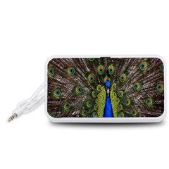 Bird Peacock Display Full Elegant Plumage Portable Speaker (white)