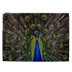 Bird Peacock Display Full Elegant Plumage Cosmetic Bag (XXL)