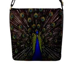 Bird Peacock Display Full Elegant Plumage Flap Messenger Bag (l)