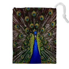 Bird Peacock Display Full Elegant Plumage Drawstring Pouches (XXL)