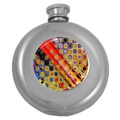 Background Texture Pattern Round Hip Flask (5 Oz)