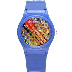 Background Texture Pattern Round Plastic Sport Watch (s)