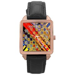 Background Texture Pattern Rose Gold Leather Watch
